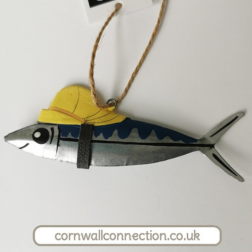 Fish in Sou'wester hanging decoration - Souwester hat on Mackerel - Home decor
