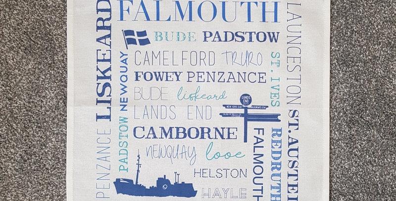 Cornwall Places Tea towel