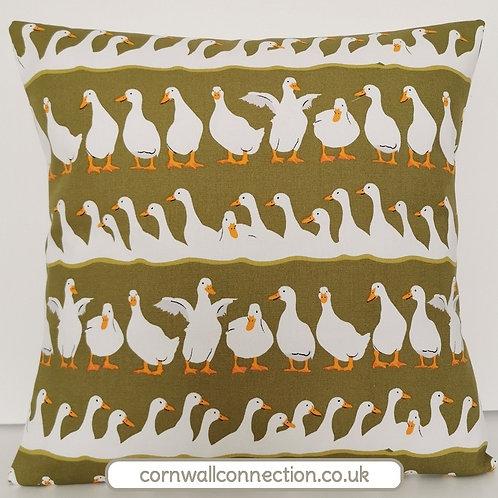 DUCKS print cushion cover - Ducks in rows - Happy ducks - Olive green