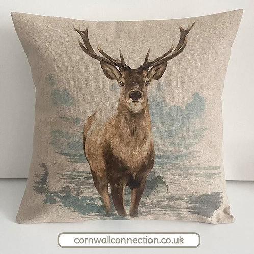 Stag cushion cover - Stunning stag on a linen look background. Teal and natural
