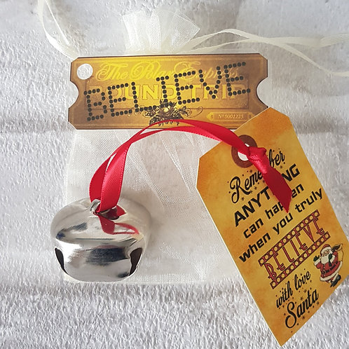 I believe polar express style large metal jingle bell & ticket Christmas SILVER