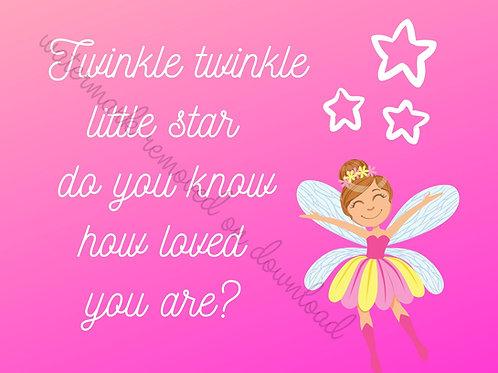 """Twinkle twinkle little star - pink fairy - Digital file download - 10"""" x 8"""" -JPG"""