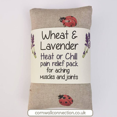 Wheat & Lavender bag - Heat or Chill pack, Healing, Pain relief, Ladybirds