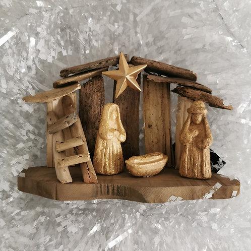 Driftwood Nativity Scene - Mary Joseph Baby Jesus Stable - Rustic