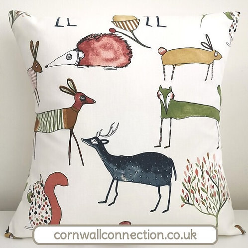 Countryside animals cushion cover - fox - deer - hedgehog - hare - squirrel