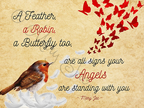 """A Feather, a Robin.."" - Angel signs poem- Digital file download - 10 x 8"" - JPG"