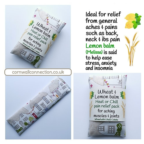 Wheat pack with Lemon Balm & Litsea, Heat/Chill, pain relief, healing - Cottages