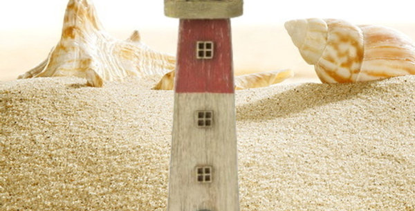 Lighthouse - Red - Rustic style - 28cm high