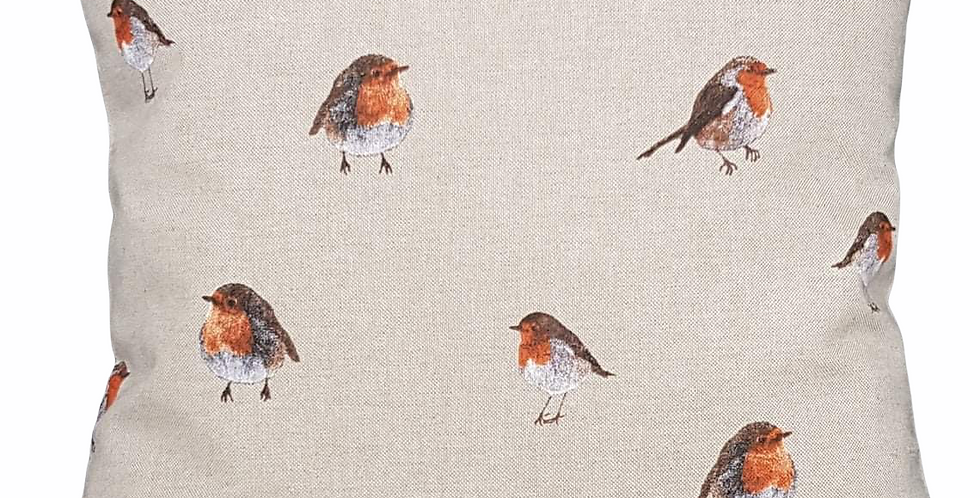 Robins cushion cover - Cute robins in various poses on a linen look background