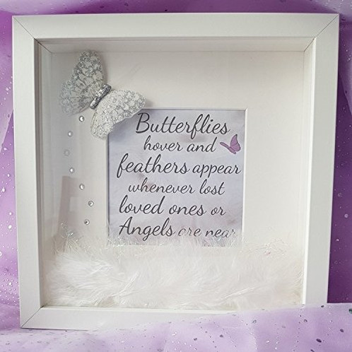 Butterflies hover and feathers appear - 3D box frame