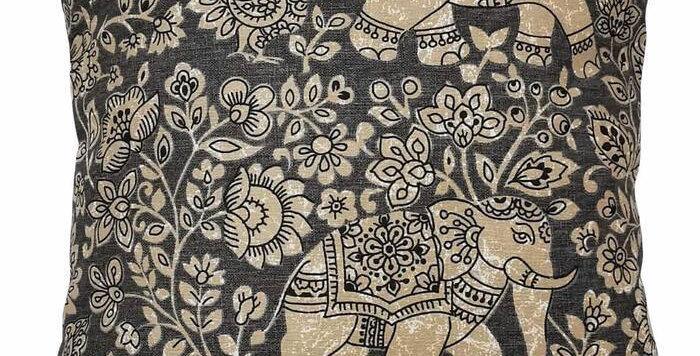 Indian Elephant print cushion cover - Batik cushion cover - Charcoal