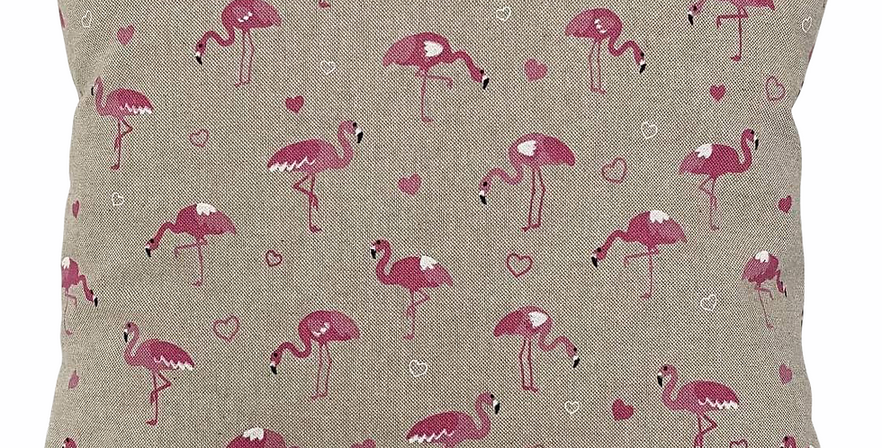 Flamingos cushion cover - Bright pink flamingos on a linen look background