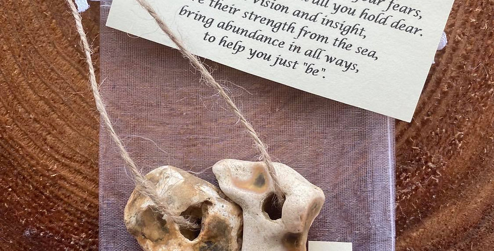 Hag stone pair 33 - MEDIUM - Protection amulet with blessing