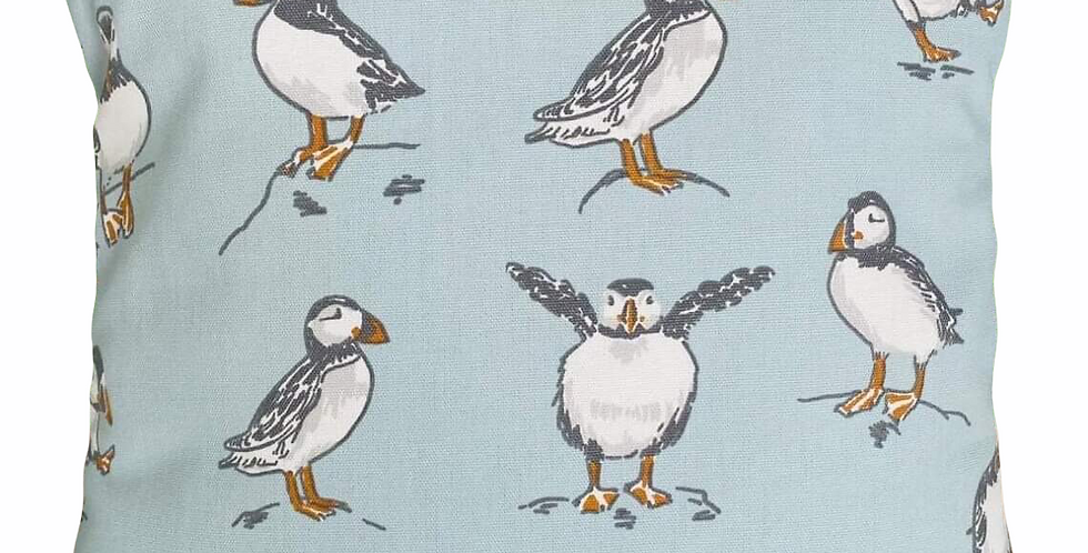 Puffins Cushion Cover - Dancing, happy, jumping, posing coastal puffins - BLUE