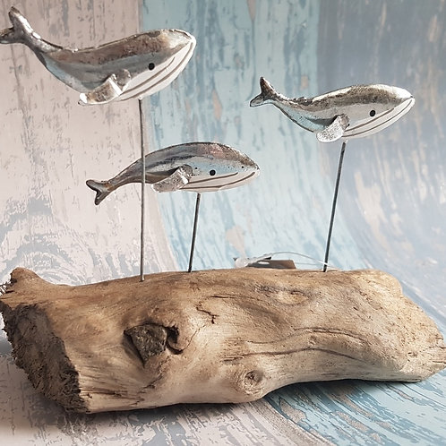 Whales on driftwood - silver - swimming whales - Shoeless Joe - Rustic Seaside