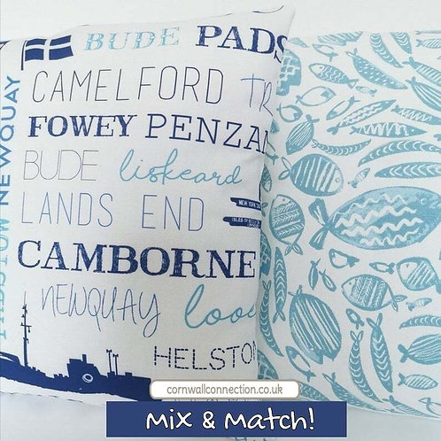 Cornwall places and fishes cushion covers. Pair. Mix and Match!