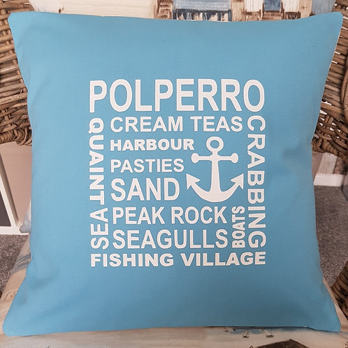 Polperro collage cushion - with pad - Cornflower blue - unique