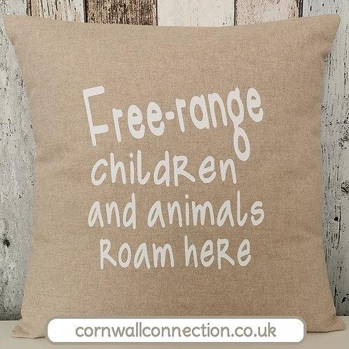 Free-range children and animals roam here cushion - hessian style - with insert
