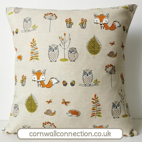 Woodland Owls cushion cover - fox - owl - hedgehog - butterflies