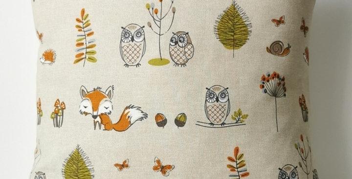Woodland Owls cushion cover - fox - owl - hedgehog - butterflies