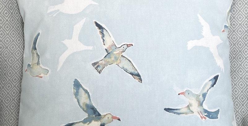 Flying Gulls cushion cover - Seagulls - Coastal - Nautical - Beach -Blue