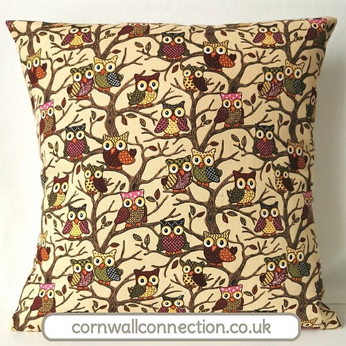 Owls cushion cover - Colourful owls on a rich cream tapestry style background
