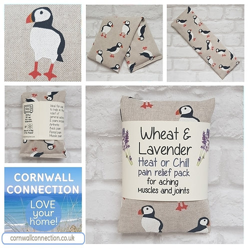 Wheat and Lavender bag - Heat pack/Chill pack - Healing, Pain relief, PUFFINS!