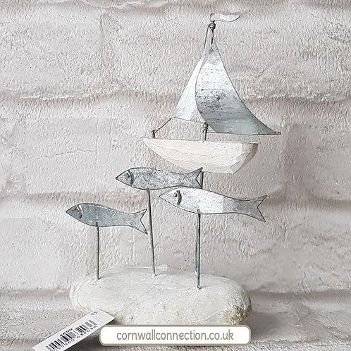 Silver sailboat and fish on pebble - Coastal - Nautical - Shoeless Joe