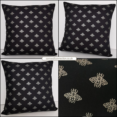 BEE cushion cover - metallic GOLD bees on a black background