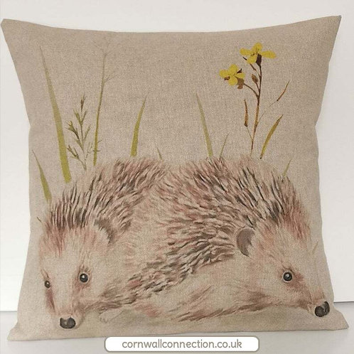 Hedgehogs cushion cover - Large pair of cute hedgehogs - Countryside  - Wildlife