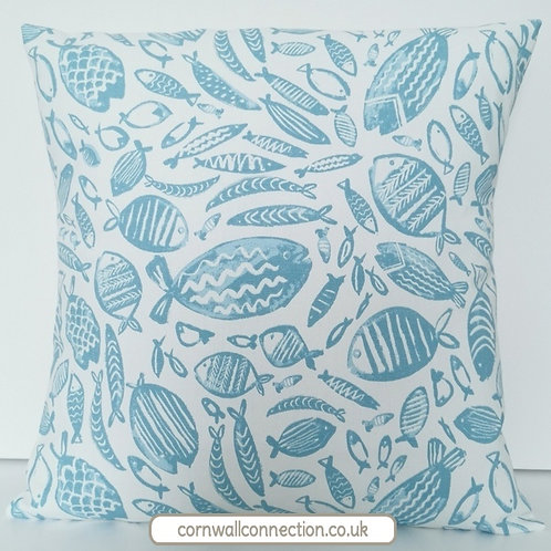FISHES cushion cover - aqua on white - sealife - nautical - coastal - beach