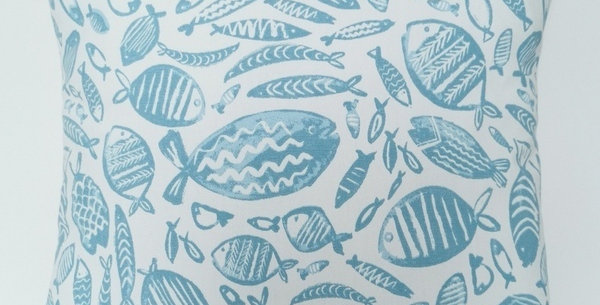 FISHES cushion cover - aqua on white - sealife - nautical - coastal - beach