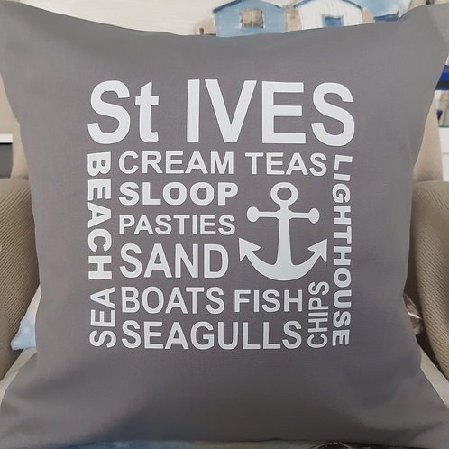 St Ives collage cushion - with pad - Pewter Grey - unique