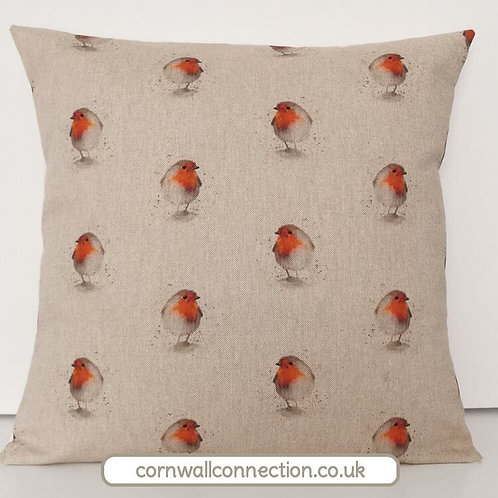 Robins cushion cover on linen style cotton fabric background - stunning!
