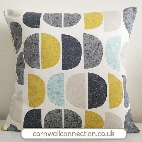 Scandi LUNA Half Moon print cushion cover - Ochre, Grey, Duck egg blue