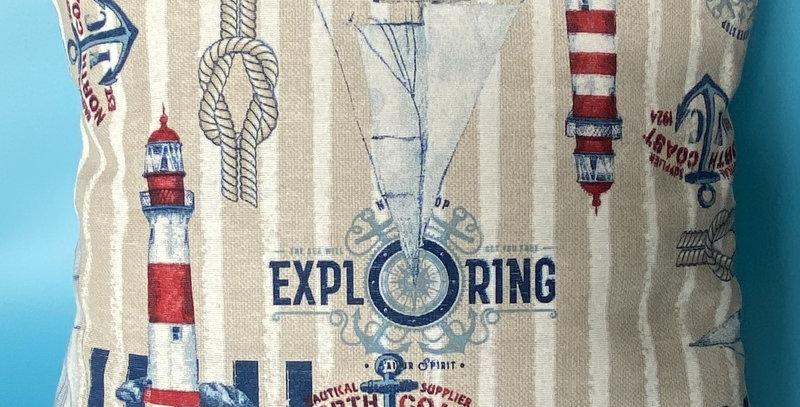 Nautical Lighthouse, Anchors Boats and Knots cushion cover - Coastal - Seaside
