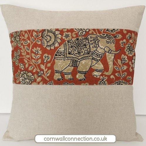 Indian Elephant cushion cover - Batik  - Linen look with henna elephant strip