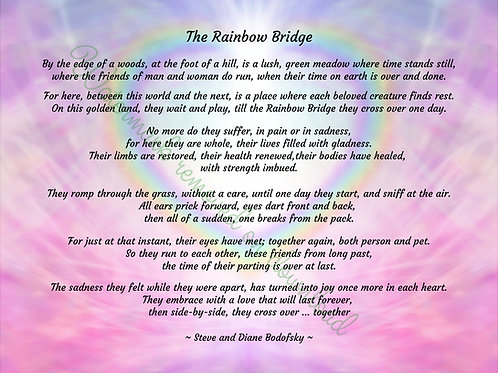"The Rainbow Bridge poem - Digital file download - 10"" x 8"". JPG"