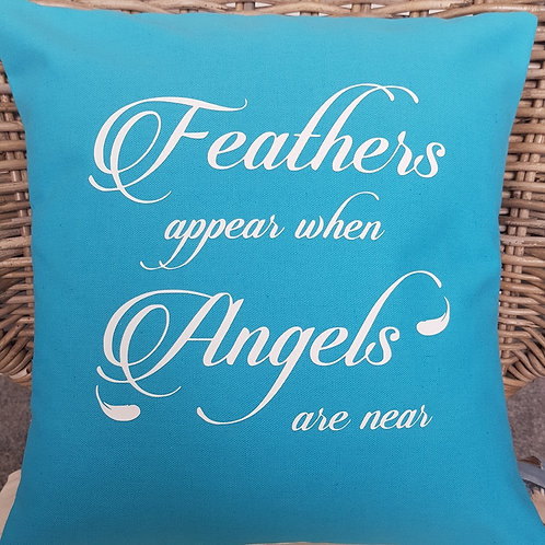 Feathers appear when Angels are near cushion with insert. Colour: Turquoise