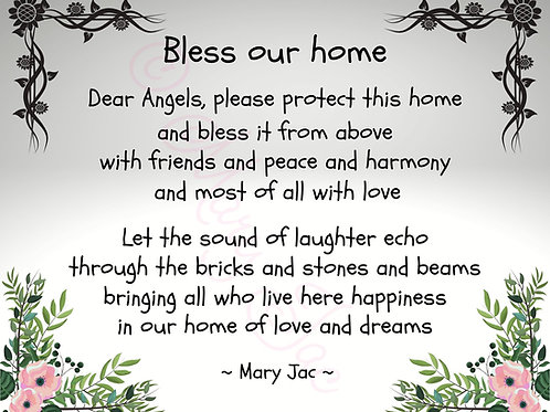 "The ""Bless our home"" prayer/poem - Digital file download - 10"" x 8"" - JPG"