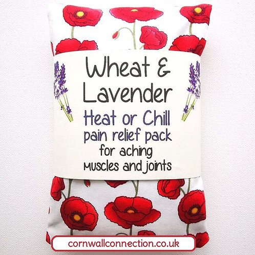 Wheat and Lavender bag - Heat/Chill pack - Healing Pain relief Poppies Ivory