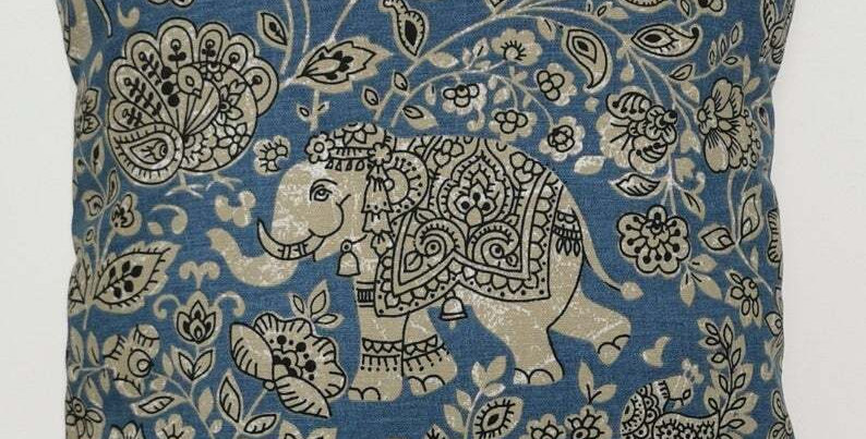 Indian Elephant print cushion cover - Batik cushion cover - Blue