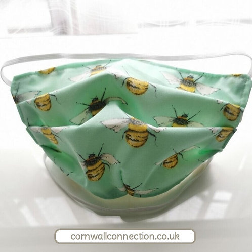 Mint Buzzy BEES Child or Adult Face Mask.  4 sizes Snug fit, Washable, re-usable