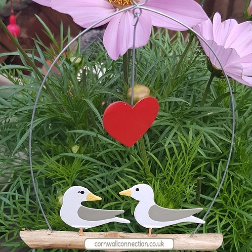Seagulls in love with heart - wall hanger - Seaside- Coastal - Beach