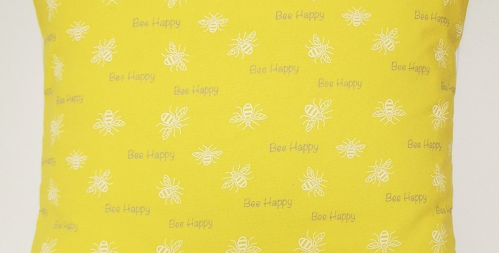 Bee happy Cushion cover - Bee print - white bees, grey BEE HAPPY text on yellow