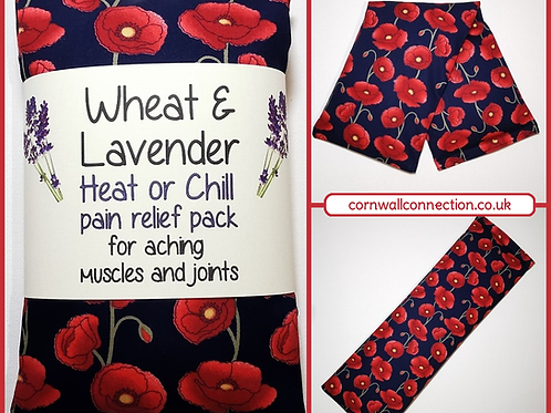 Wheat and Lavender bag - Heat pack/Chill pack - Healing Pain relief Poppies Navy