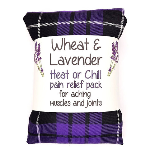 Wheat & Lavender bag -Heat pack/Chill pack, Healing, Pain relief - Purple Tartan