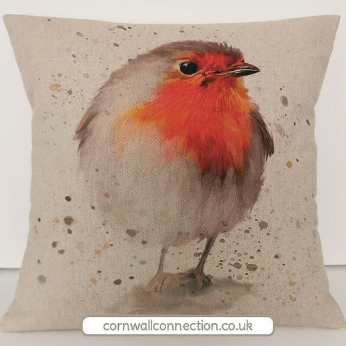 Giant Robin cushion cover on a linen look background - STUNNING!