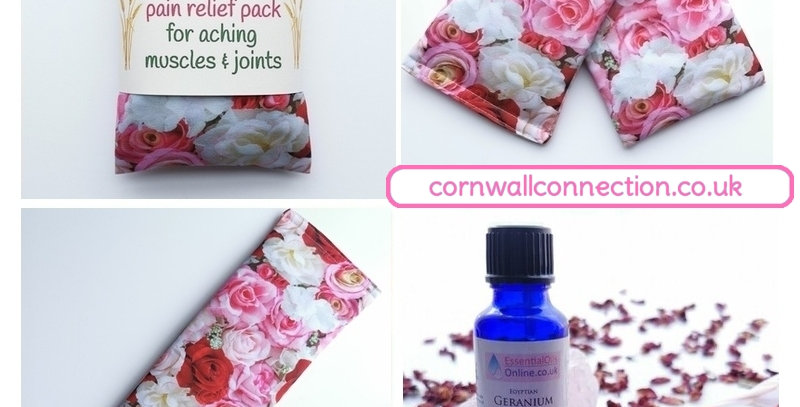 Wheat pack with Rose petals and Rose geranium, Heat/Chill, pain relief, healing