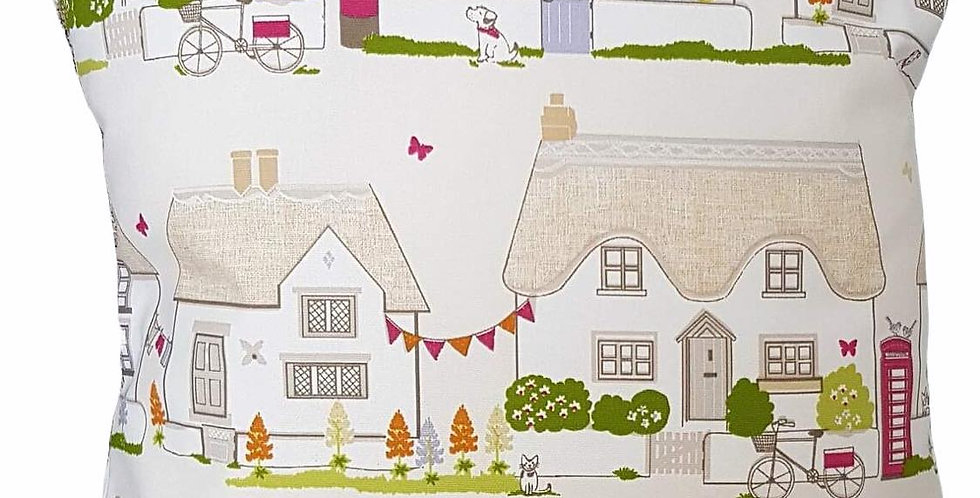 Country Cottages cushion cover English Postbox Phone Box Cat Dog Bicycle